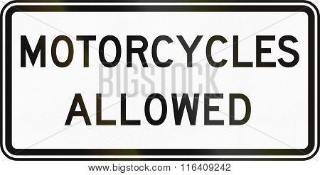 United States Mutcd Regulatory Road Sign - Motorcycles Allowed