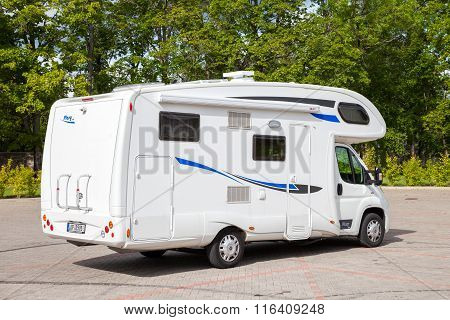 Sigulda. Latvia - August 31, 2015: White Camper Family Car On Parking Near Sigulda Castle. Sigulda,