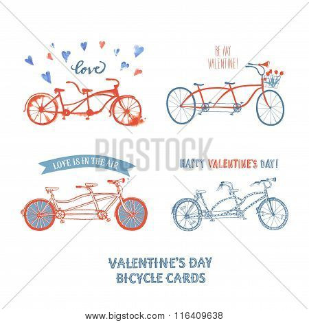 Set Of Different Tandem Bicycle Postcards
