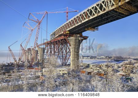 Two-level Highway Bridge Flyover Through Sea Canal Under Construction, Saint-petersburg.