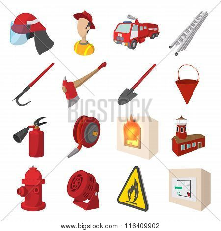Firefighter cartoon icons set