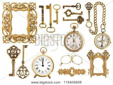 Antique Golden Accessories. Vintage Picture Frame Clock Key