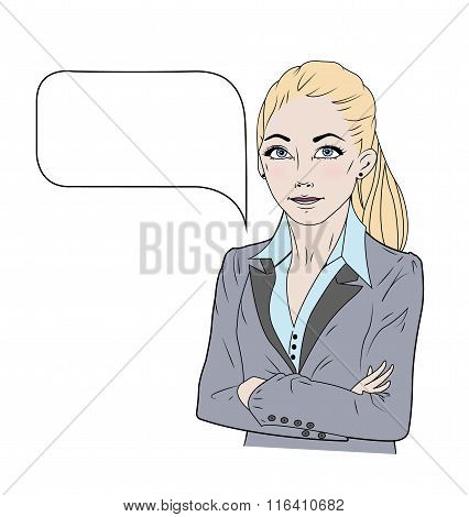 Vector illustration of speaking business woman in colour