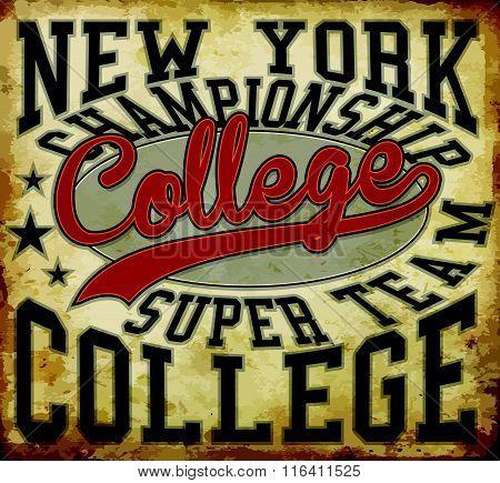 Tee graphic college badge vector art