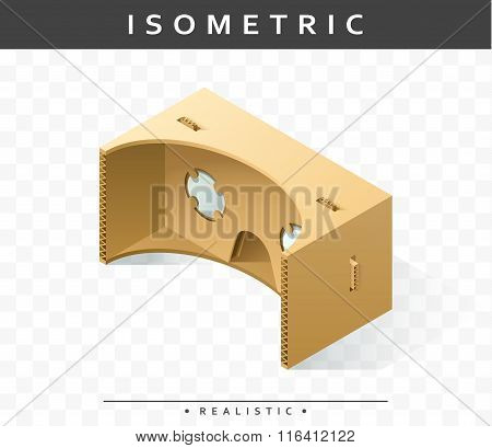 Isometric realistic cardboard glasses virtual reality headsets