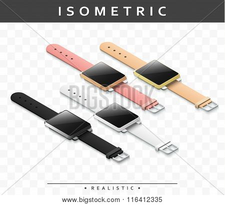 Set of realistic multicolored smart watch in isometric. Isolated clock