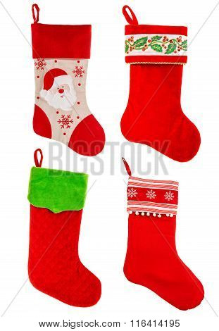 Christmas Stocking. Red Sock For Gifts. Ornaments