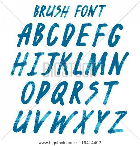 Brush handwritten full alphabet.  Blue ink script font. Irregular vector letters.