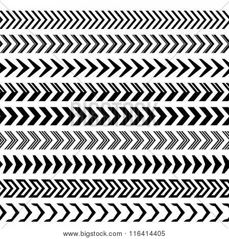 Seamless black and white arrow stripe dividers vector set.