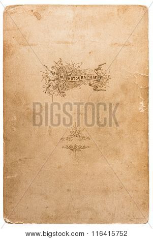 Used photo cardboard texture. Scrapbook object. Old paper sheet with edges isolated on white background