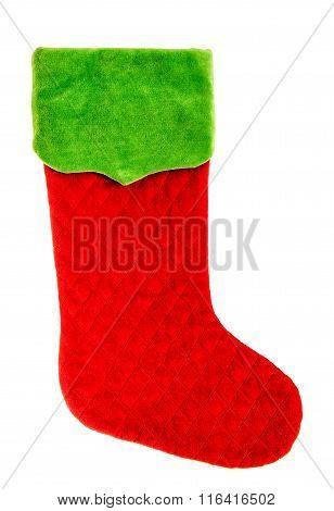 Christmas Stocking. Red Green Sock. Winter Holidays Symbol