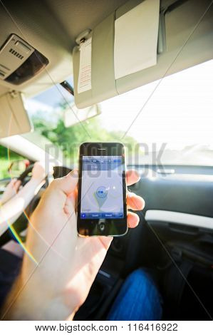 Man Navigation Inside Car Gps Iphone Direction