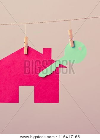 House With Key On Laundry Line