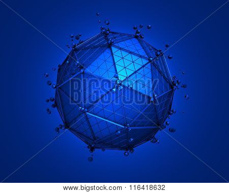 Low Poly Sphere with Wireframe.