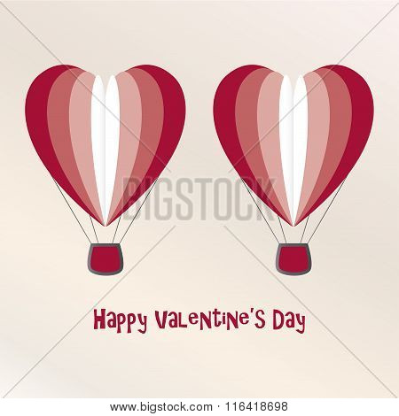 Two Air Baloons Valentine Day Card