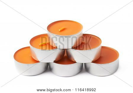 Tealight paraffin wax candle isolated