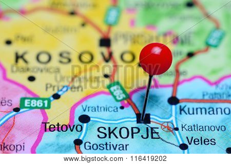 Skopje pinned on a map of Macedonia