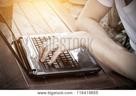 Image Of Man's Hands Typing.