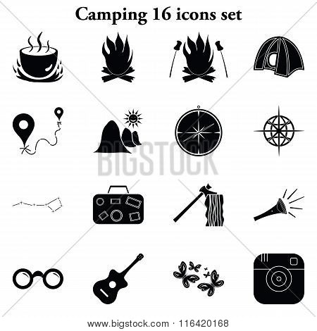 Camping 16 simple icons set