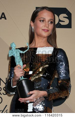 LOS ANGELES - JAN 30:  Alicia Vikander at the 22nd Screen Actors Guild Awards at the Shrine Auditorium on January 30, 2016 in Los Angeles, CA