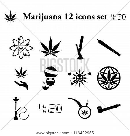 Marijuana 12 simple icons set
