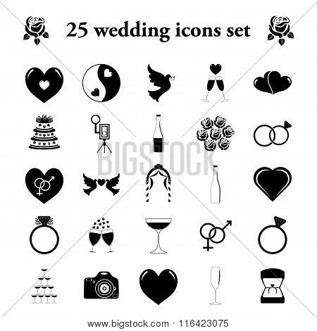 Wedding 25 simple icons set