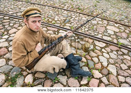 Soldier With Boiler And Gun In Retro Style Picture