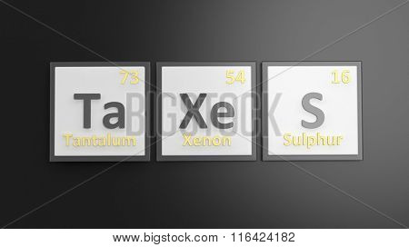 Periodic table of elements symbols used to form word Taxes, isolated on black