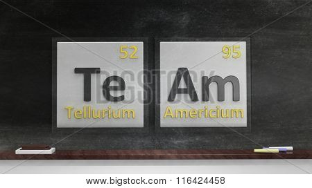 Periodic table of elements symbols used to form word Team, on blackboard