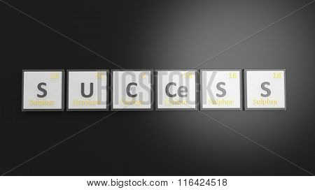 Periodic table of elements symbols used to form word Success, isolated on black