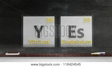 Periodic table of elements symbols used to form word Yes, on blackboard