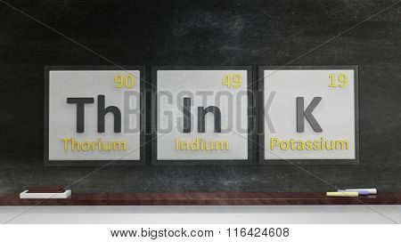 Periodic table of elements symbols used to form word Think, on blackboard