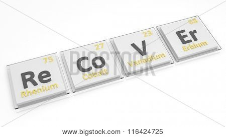 Periodic table of elements symbols used to form word Recover, isolated on white.