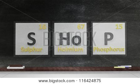Periodic table of elements symbols used to form word Shop, on blackboard