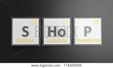 Periodic table of elements symbols used to form word Shop, isolated on black