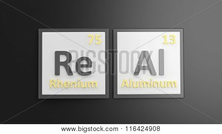 Periodic table of elements symbols used to form word Real, isolated on black