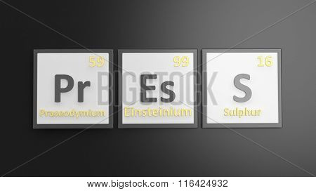 Periodic table of elements symbols used to form word Press, isolated on black