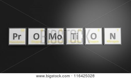 Periodic table of elements symbols used to form word Promotion, isolated on black