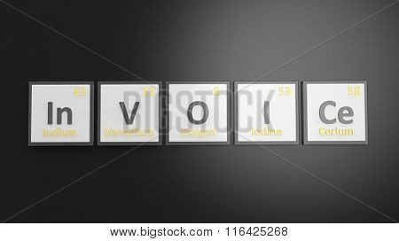 Periodic table of elements symbols used to form word Invoice, isolated on black