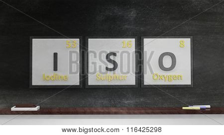 Periodic table of elements symbols used to form word Iso, on blackboard
