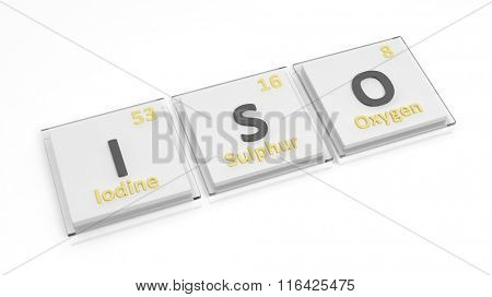 Periodic table of elements symbols used to form word Iso, isolated on white.