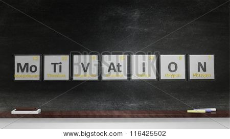 Periodic table of elements symbols used to form word Motivation, on blackboard.