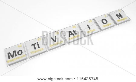 Periodic table of elements symbols used to form word Motivation, isolated on white.