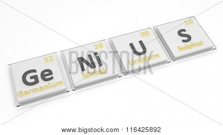 Periodic table of elements symbols used to form word Genius, isolated on white.