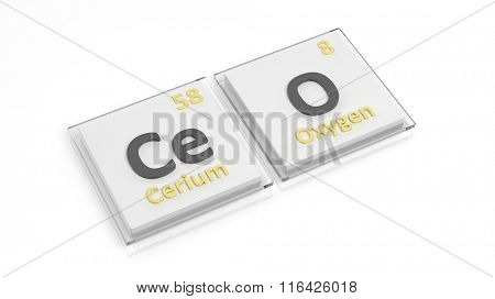 Periodic table of elements symbols used to form word CEO, isolated on white.