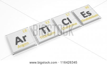 Periodic table of elements symbols used to form word Articles, isolated on white.