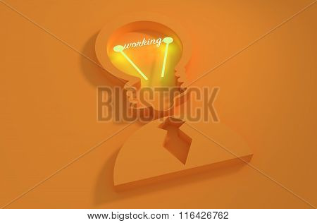 Lamp Head Businessman 3D Icon. Working Text