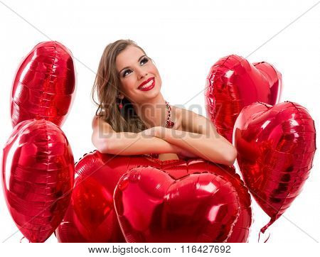 red hearts and woman looking up