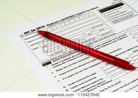 IRS Form 941, Tax Form Details with Light Background