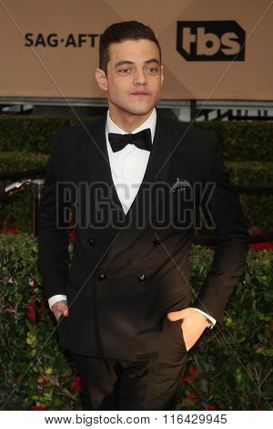 LOS ANGELES - JAN 30:  Rami Malek at the 22nd Screen Actors Guild Awards at the Shrine Auditorium on January 30, 2016 in Los Angeles, CA